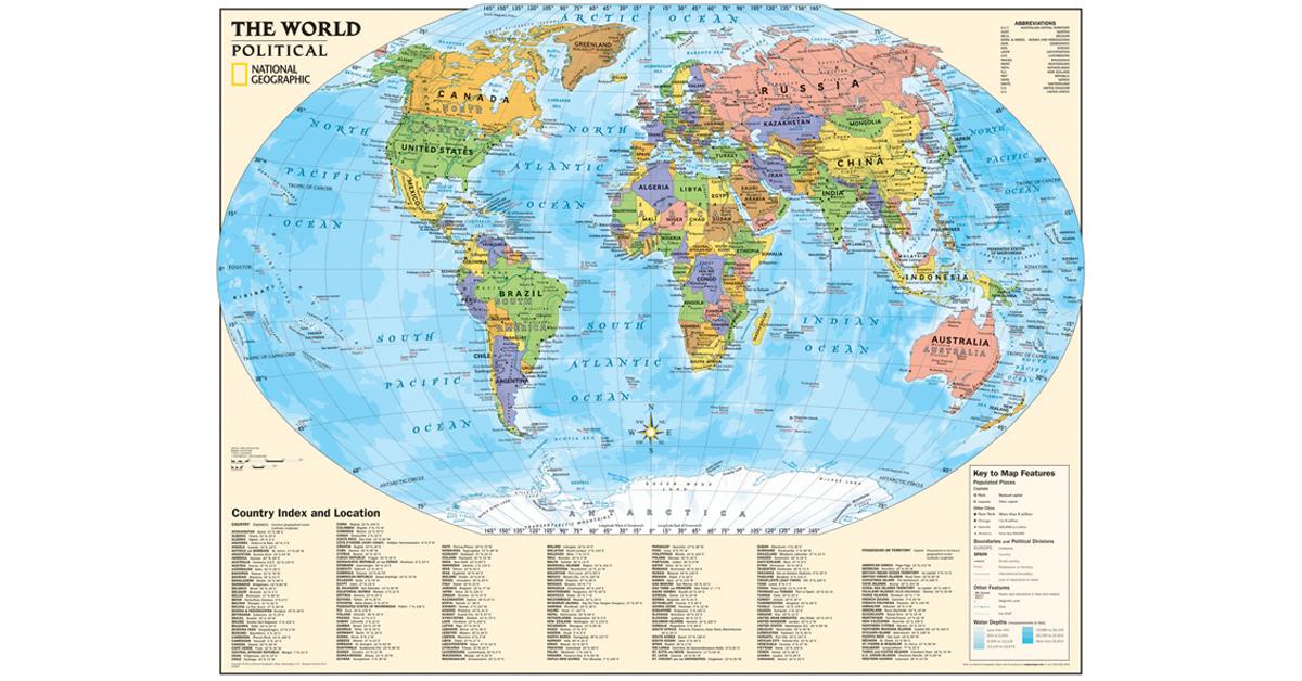 Kids Political World Map Laminated NGMRE01020564 National Geographic Maps