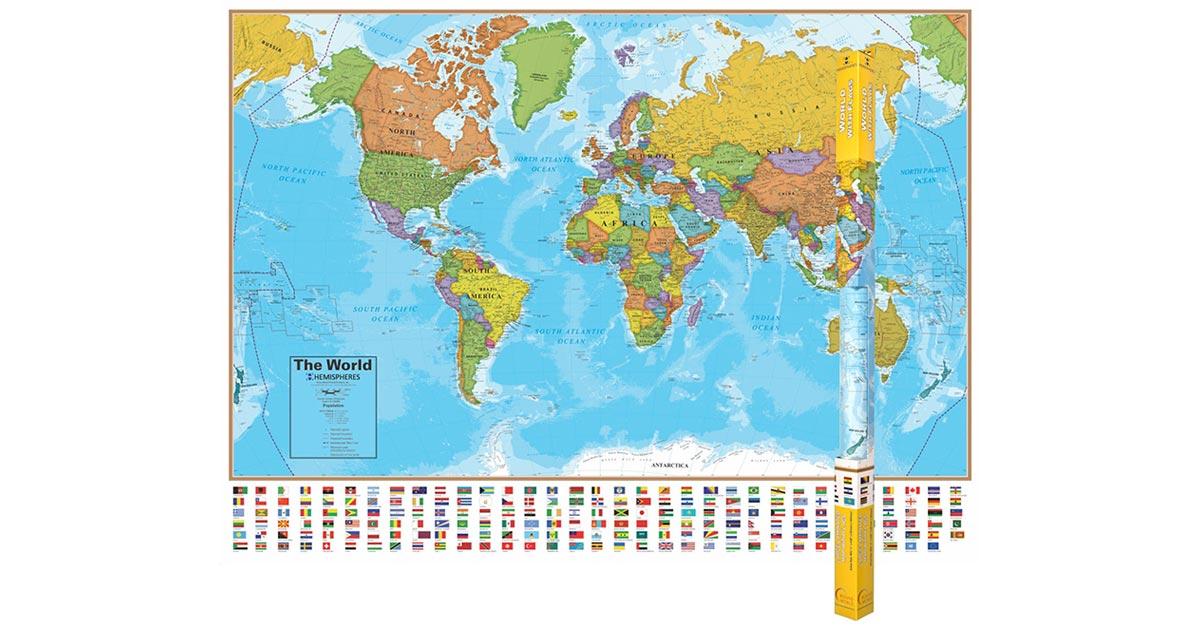 Hemispheres Laminated Map World RWPHM01 Round World Products Social Stu