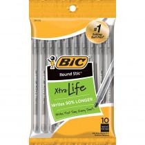 BICGSMP101BK - Bic Round Stic Ballpoint Pens Black 10Pk in Pens