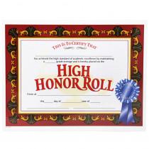 H-VA586 - High Honor Roll Award 30/Pk 8.5X11 Certificates in Certificates