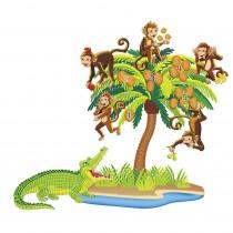 LFV22704 - Five Monkeys Sitting In A Tree Precut Flannels in Flannel Boards
