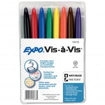 SAN16078 - Marker Set Vis A Vis 8 Color Wet Erase Blk Rd Blu Grn Ylw Brn Pur in Markers