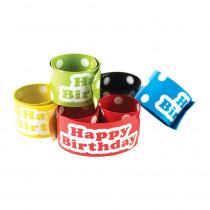 TCR20665 - Slap Bracelets Polka Dots Happy Birthday in Novelty