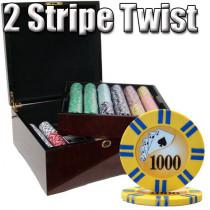 2 Stripe Twist 750pc 8 Gram Poker Chip Set w/Mahogany Case