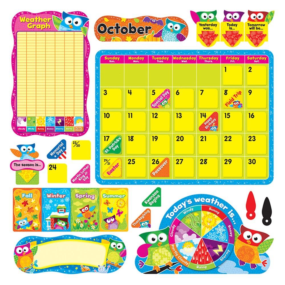 Calendar Bulletin Board Set : Owl stars calendar bulletin board set t trend