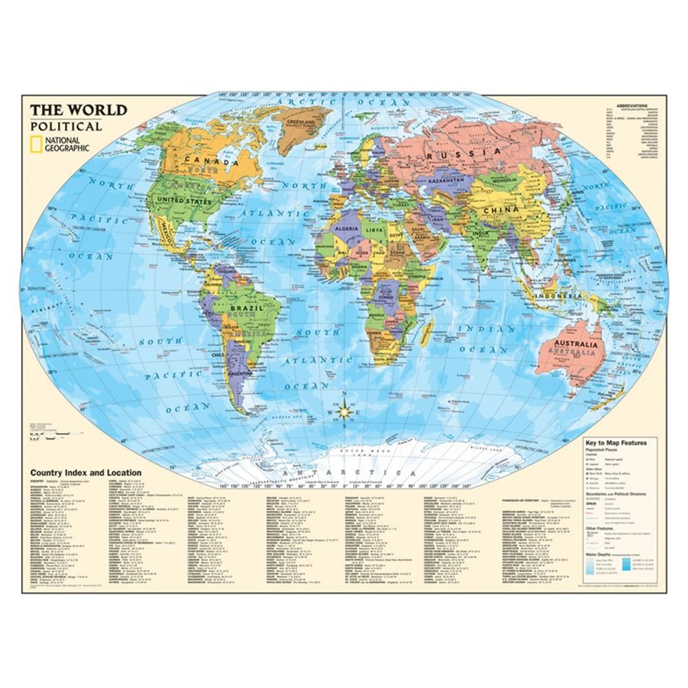 Kids Political World Map Laminated Ngmre01020564