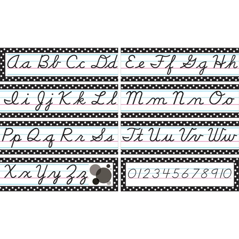 TCR4099 - Cursive Mini Bulletin Board Set in Alphabet Lines
