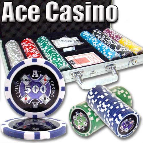 Ace Casino 14 Gram 300pc Poker Chip Set w/Aluminum Case