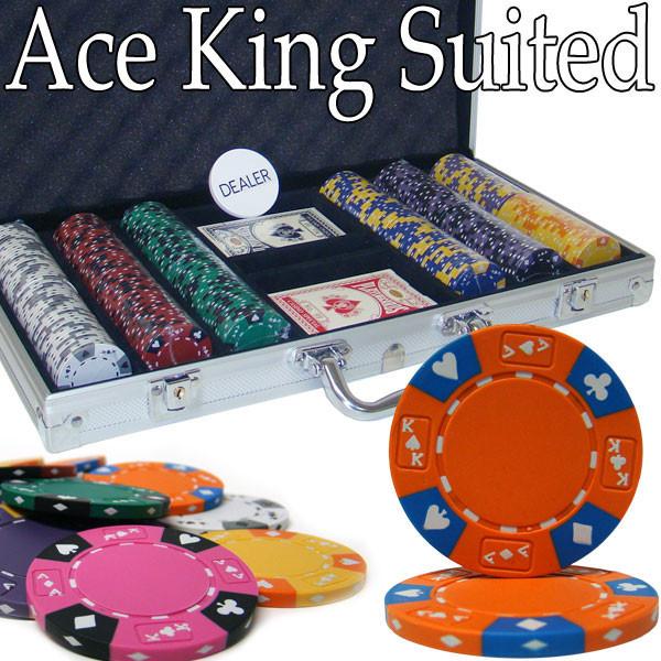 Ace King Suited 300pc Poker Chip Set w/Aluminum Case