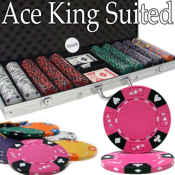 Ace King Suited 500pc Poker Chip Set w/Aluminum Case