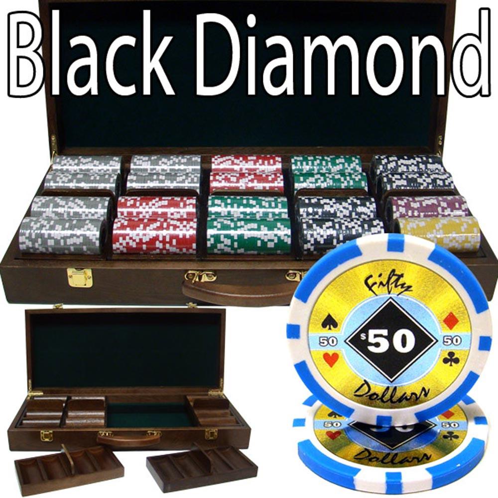 Black Diamond 14 Gram 500pc Poker Chip Set w/Walnut Casel
