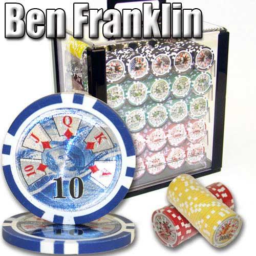 Ben Franklin 14 Gram 1000pc Poker Chip Set wAcrylic Case