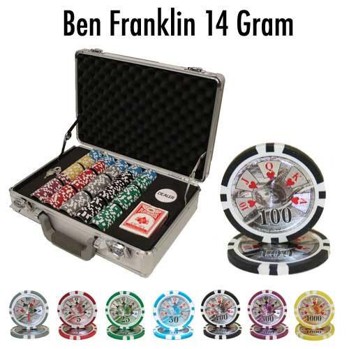 Ben Franklin 14 Gram 300pc Poker Chip Set w/Claysmith Aluminum Case