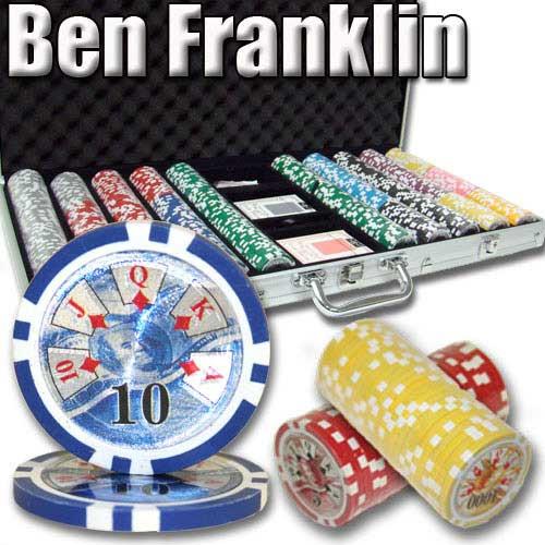 Ben Franklin 14 Gram 750pc Poker Chip Set w/Aluminum Case