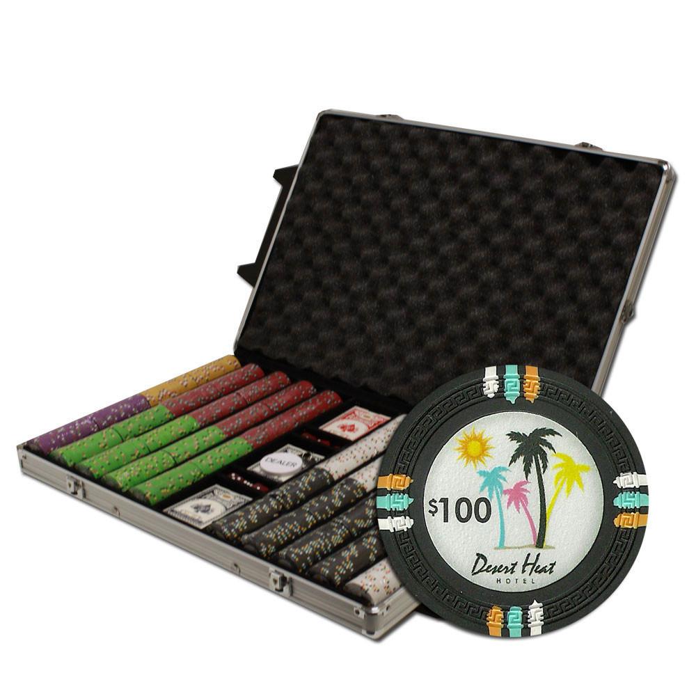 Desert Heat 1000pc Poker Chip Set w/Rolling Aluminum Case