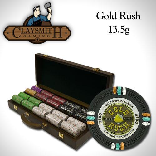 Gold Rush 500pc Poker Chip Set w/Walnut Case