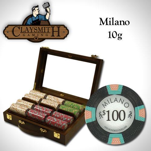 Claysmith Milano 300pc Poker Chip Set w/Walnut Case