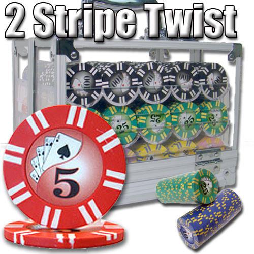 2 Stripe Twist 600pc 8 Gram Poker Chip Set w/Acrylic Case