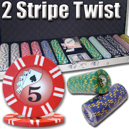 2 Stripe Twist 600pc 8 Gram Poker Chip Set w/Aluminum Case