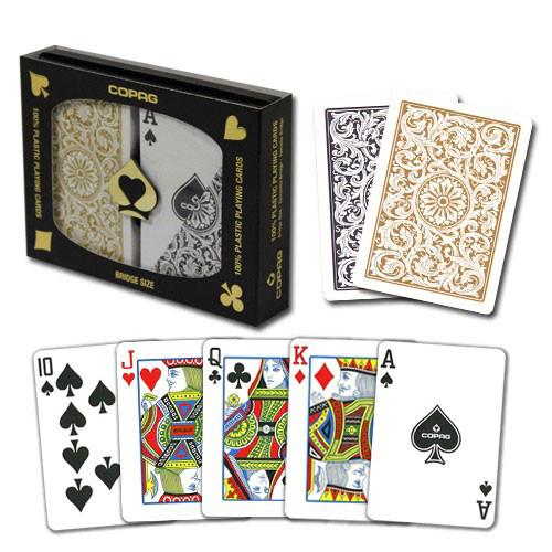 COPAG Plastic Playing Cards, Black/Gold, Bridge Size, Regular Index