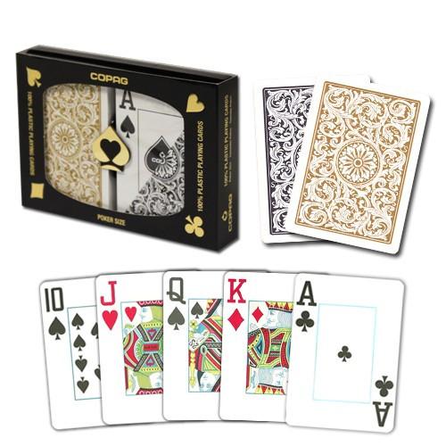 COPAG Plastic Playing Cards, Black/Gold, Poker Size, Jumbo Index