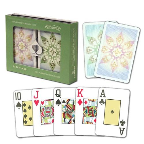 COPAG Indian Plastic Playing Cards, Green/Brown, Bridge SIze, Jumb Index
