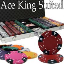 Ace King Suited 750pc Poker Chip Set w/Aluminum Case