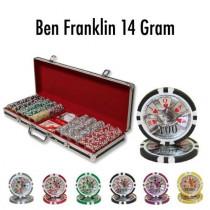 Ben Franklin 14 Gram 500pc Poker Chip Set w/Black Aluminum Case