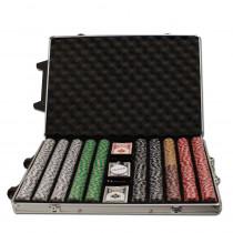 2 Stripe Twist 1000pc 8 Gram Poker Chip Set w/Rolling Aluminum Case