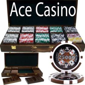 Ace Casino 500pc Poker Chip Set w/Walnut Case