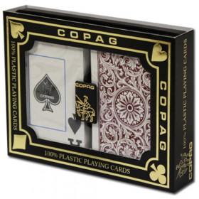 COPAG Plastic Playing Cards, Green/Burgundy, Bridge Size, Jumbo Index