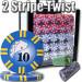 2 Stripe Twist 1000pc 8 Gram Poker Chip Set w/Acrylic Case
