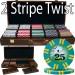 2 Stripe Twist 500pc 8 Gram Poker Chip Set w/Walnut Case