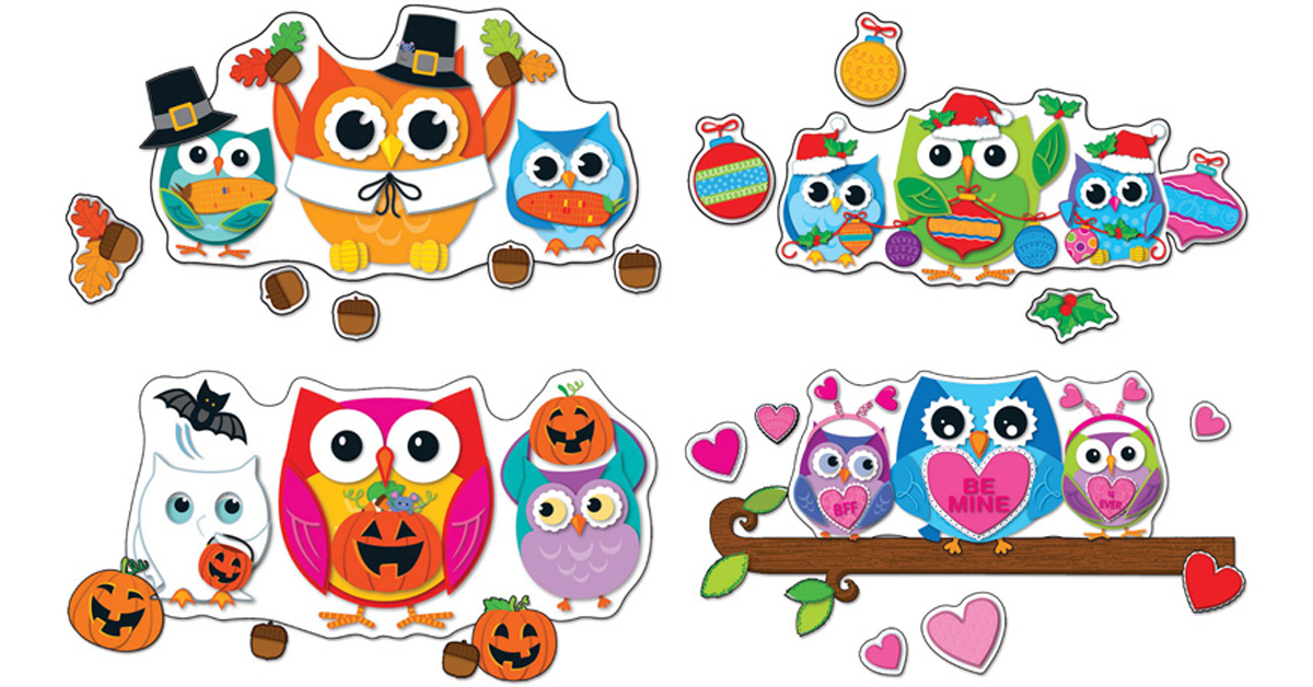 Colorful Owl Classroom Decorations ~ Celebrate with colorful owls bulletin board set cd
