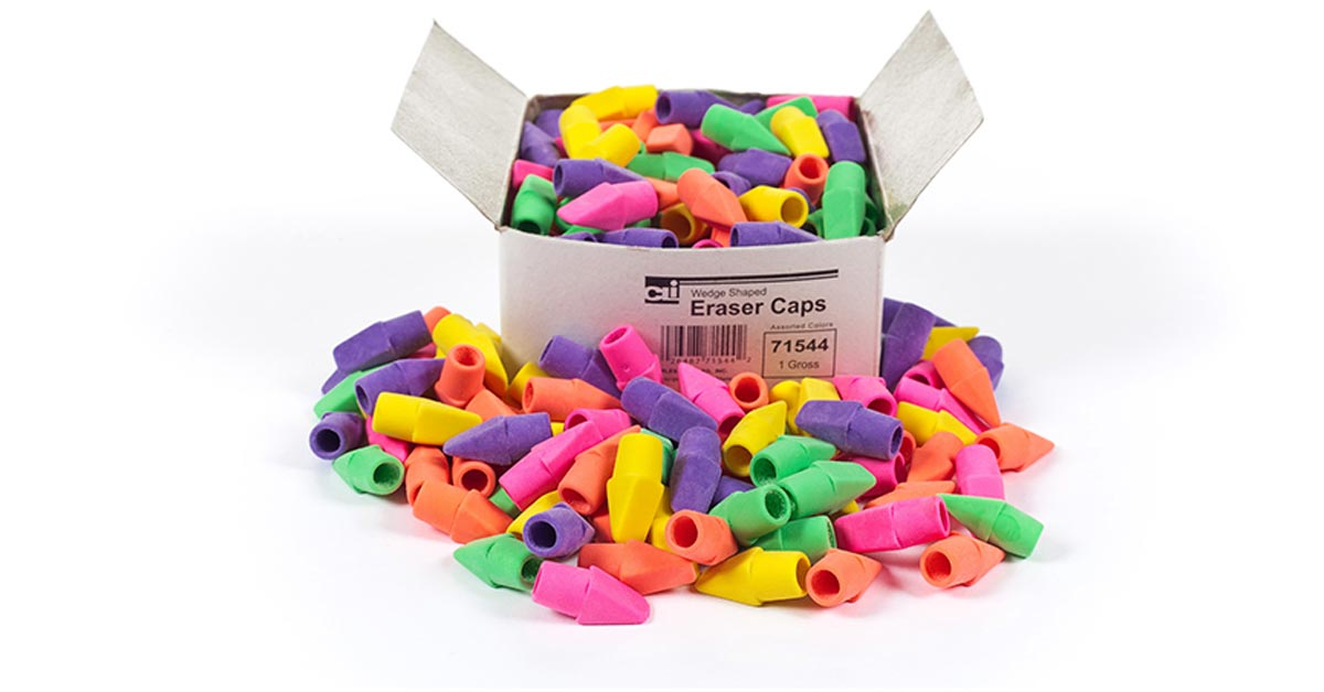 Pencil Eraser Caps, Latex Free, Assorted Colors, 144/Box