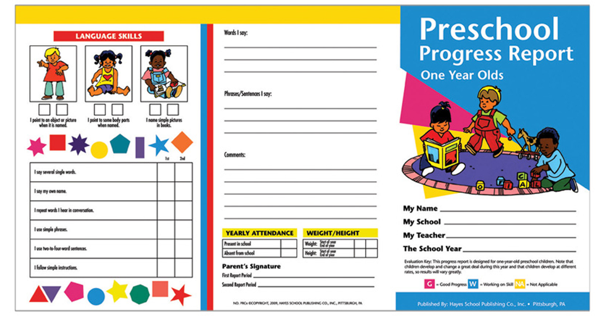 Preschool Progress Reports 10pk For 1 Year Olds H Prc09