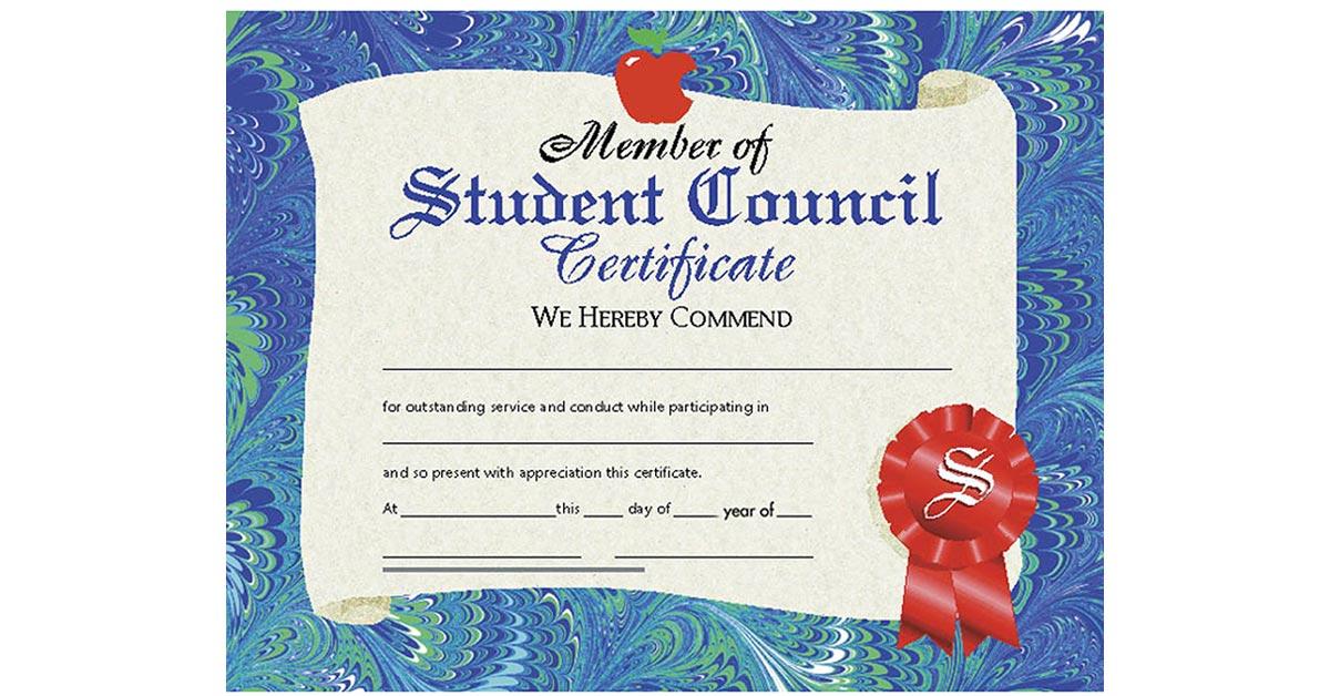 certificates student council 30  pk 8 5 x 11