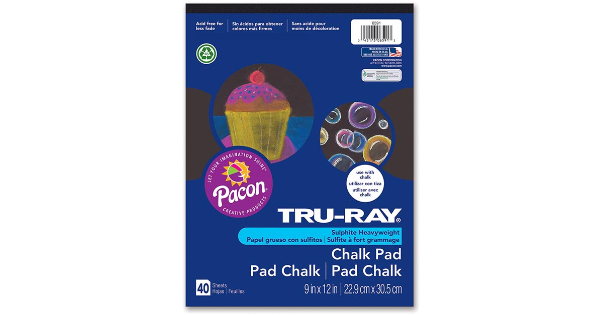 Tru-Ray Chalk Pad 9 x 12 40 Sheets Black