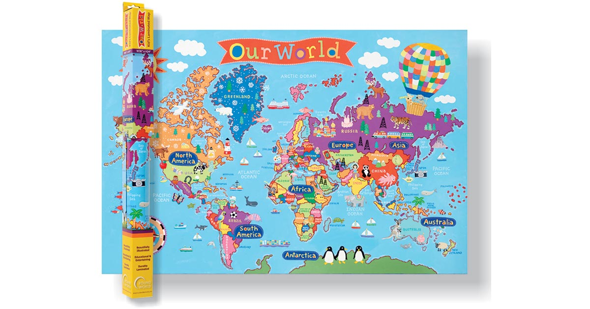 World map for kids rwpkm01 round world products social studies world map for kids rwpkm01 round world products social studiesmaps map skills gumiabroncs Choice Image