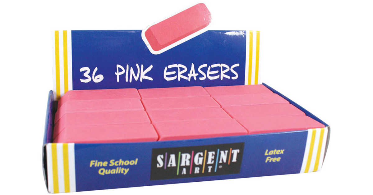 Large Pink Erasers, 36 per pack
