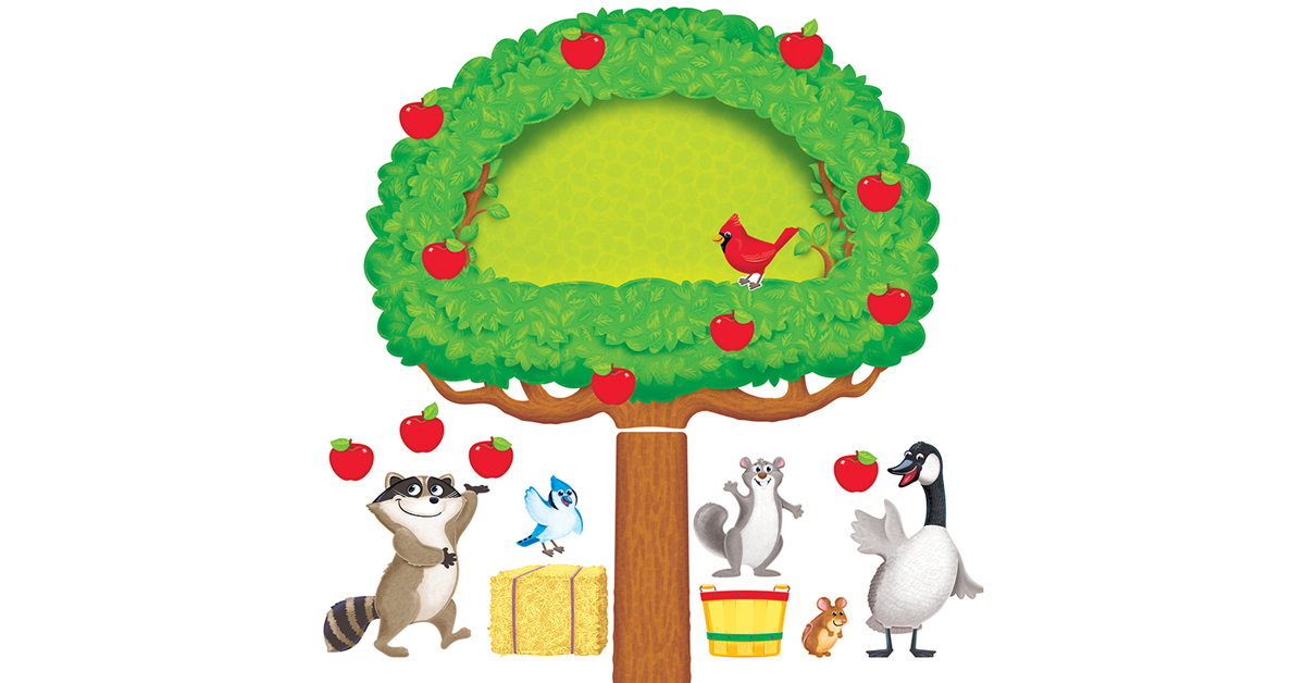 Apple tree animals bulletin board set t 8277 trend for Apple tree classroom decoration