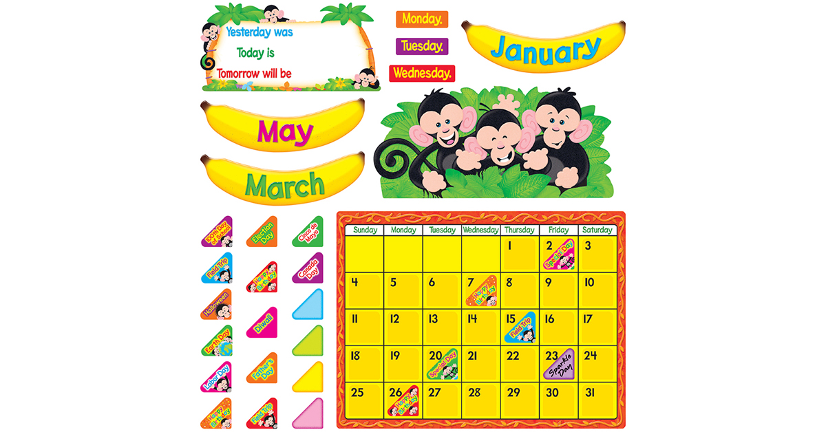 Classroom Calendar Bulletin Board Set : Monkey mischief calendar bulletin board set t