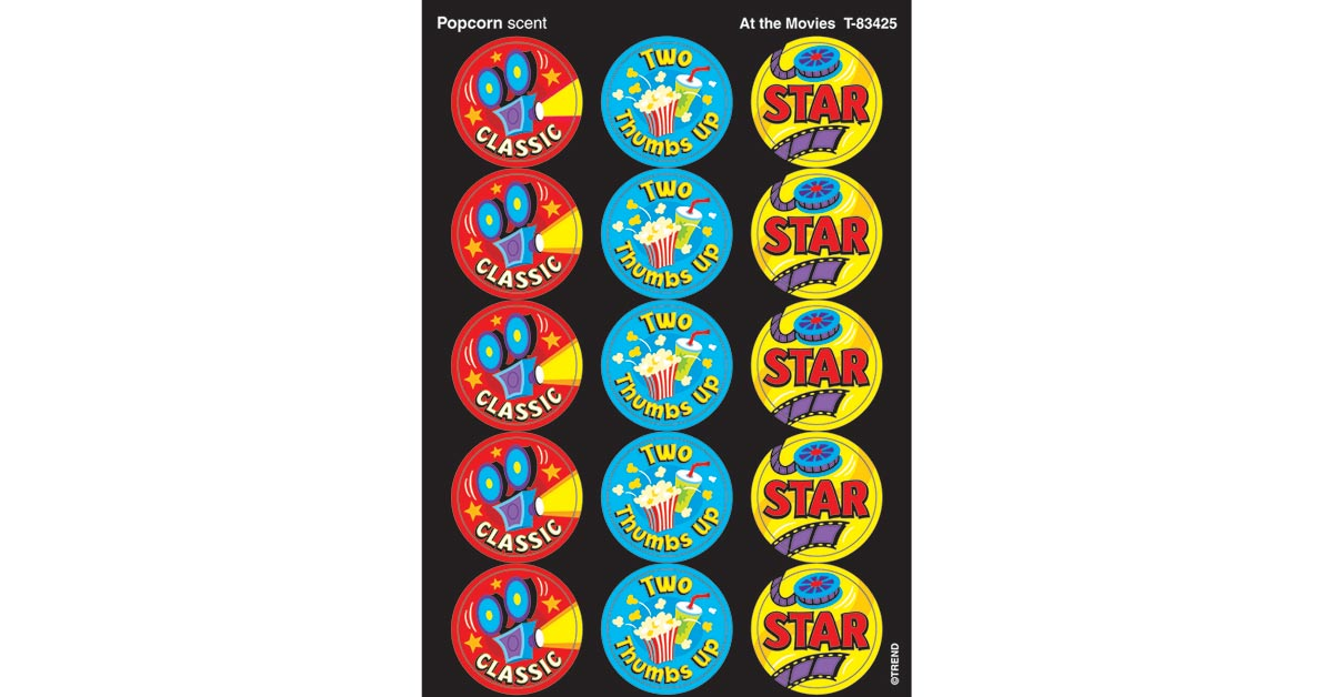 At the Movies//Popcorn Stinky Stickers TREND enterprises 60 ct T-83425 Inc