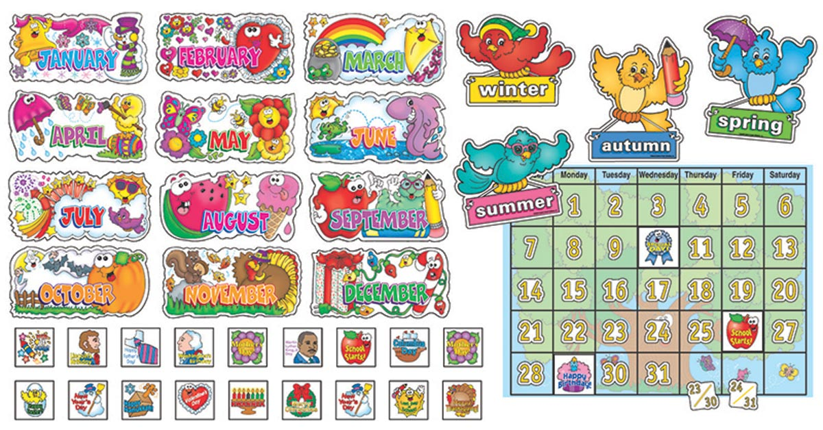 Free Classroom Decoration Resources : Bulletin board set all season calendar includes date
