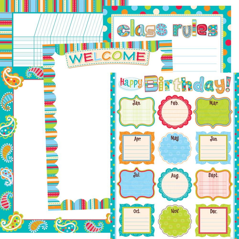 Dots On Turquoise Classroom Essentials Chart Set