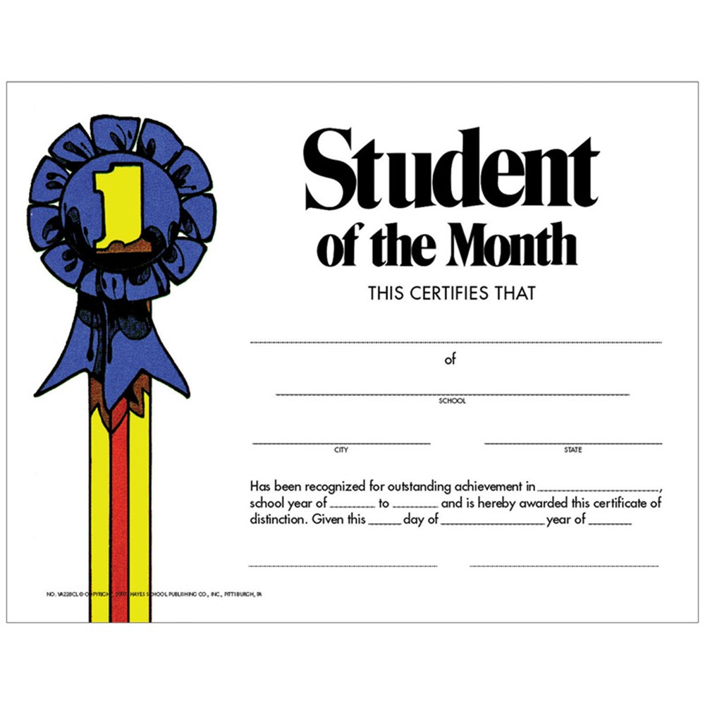Student Of The Month 30pk Certificate H Va228cl Flipside