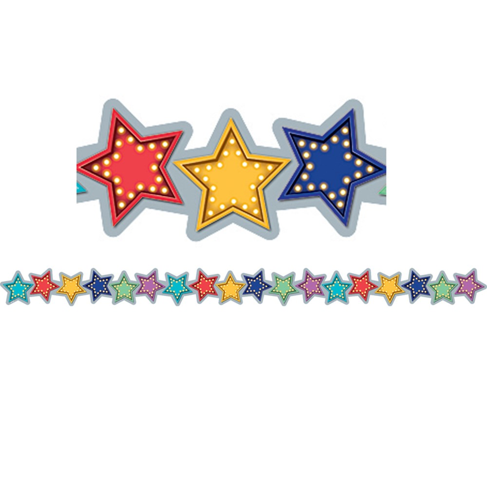 Red with White Stars Scalloped Border Trim Teacher Created Resources TCR5809