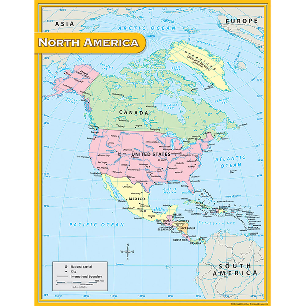 North America Map Chart 17x22 Tcr7655 Teacher Created Resources - Us-map-chart