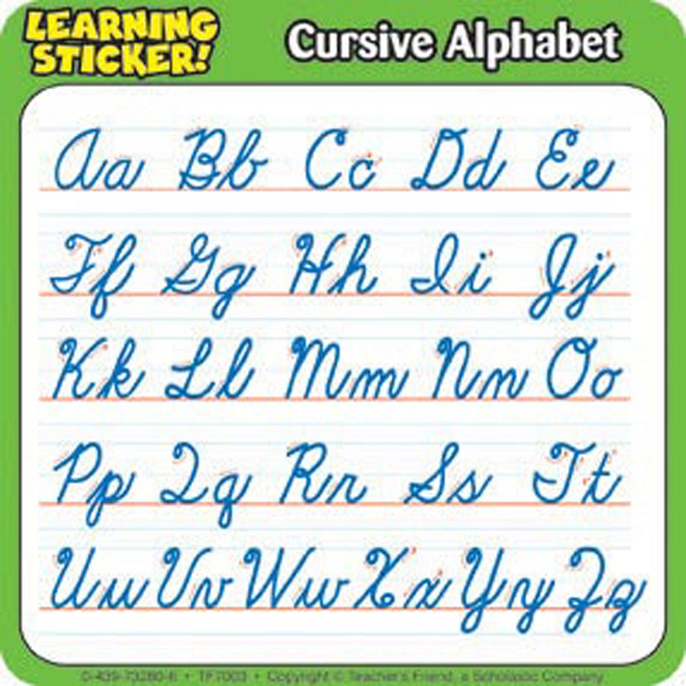 Worksheet Cursive Alphabet Chart worksheet alfabet in cursive mikyu free alphabet 4in learning stickers 20 per pack tf 7003 teachers friend