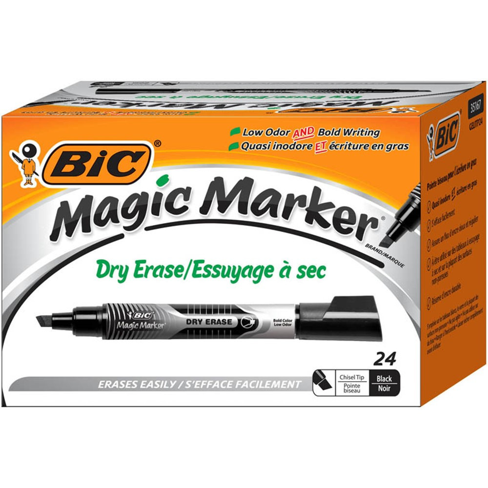BICGELITP241BLK - Bic Magic Marker Value Pk Black Dry Erase in Markers